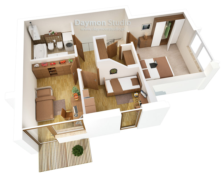 Studio Apartment 3d Floor Plans Studio Apartment 3d Floor